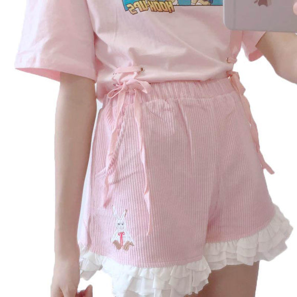 pink corduroy ruffled shorts bloomers mori girl harajuku fashion fairy kei kawaii little space cgl age play abdl youthful young high waisted lace ruffles embroidery bunny rabbit by ddlg playground