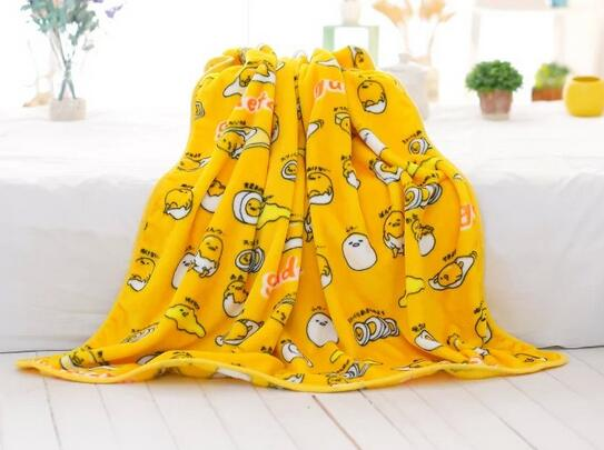 gudetama egg blanket plush soft bedspread happy yellow egg yolk pillow case kawaii harajuku japan home decor by kawaii babe