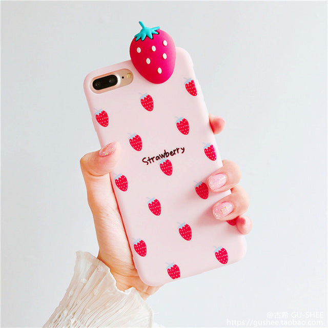 3d fruit rubber iphone cases strawberry fruity food tropical bendy soft iphone cases harajuku japan fashion by kawaii babe