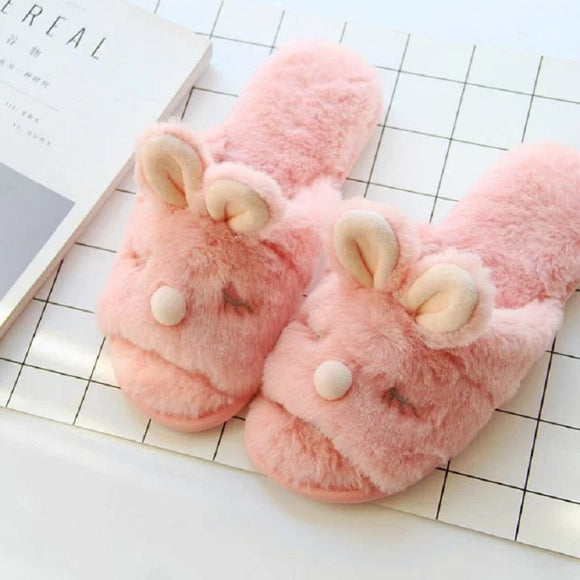 pink fuzzy bunny slippers night shoes slippies sandals bedtime cozy furry fuzzy warm kawaii ears by kawaii babe