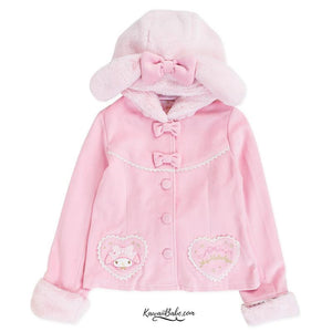 Sanrio My Melody Pink Fur Winter Coat Jacket Hoodie Bunny Rabbit Ears Fairy Kei FLeece Lined Warm Cozy Kawaii Cute Harajuku Fashion