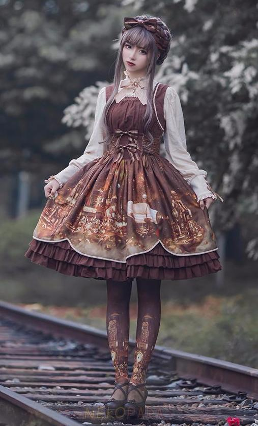 Steampunk Wedding Dress Lolita Corset Costume Cosplay Clockwork Brown Clocks Fashion Dress Up