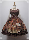 Steampunk Clockwork Lolita Dress Wedding Dress Corset Costume Cosplay Brown Clocks Fashion Dress Up