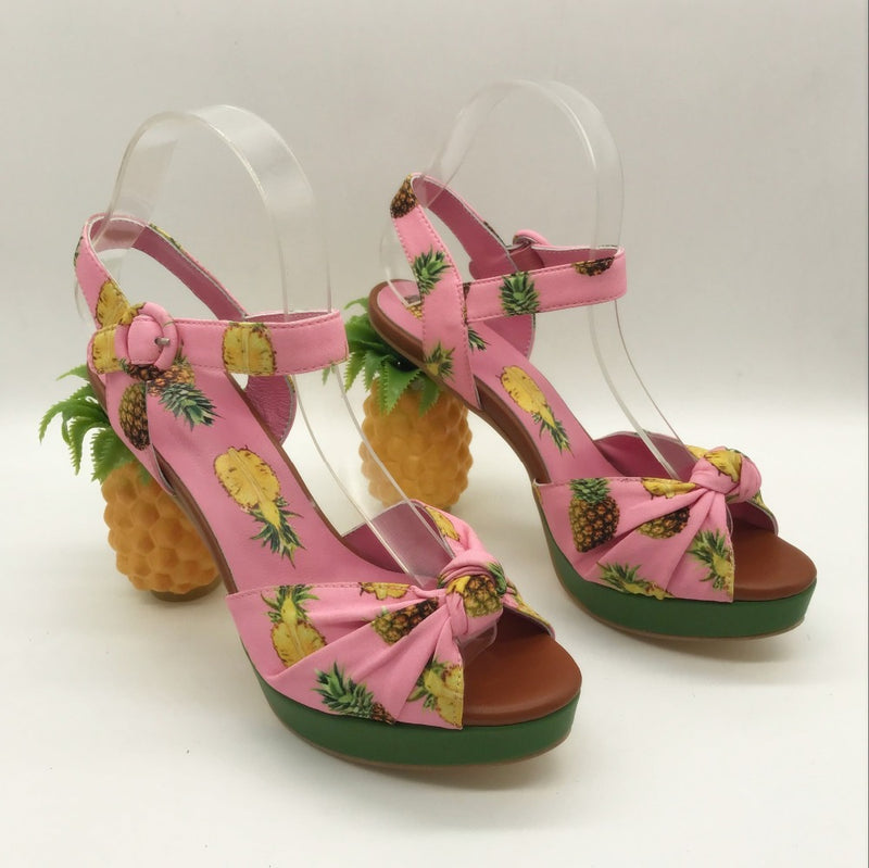 pink pineapple tropical paradise 3d high heel sandals ankle straps vogue high fashion dolce & gabbana harajuku japan street fashion by kawaii babe