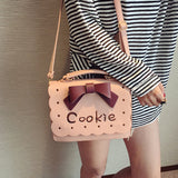 3d cookie biscuit handbag purse messenger style tote satchel vegan leather pastel pink and brown harajuku japan fashion by kawaii babe