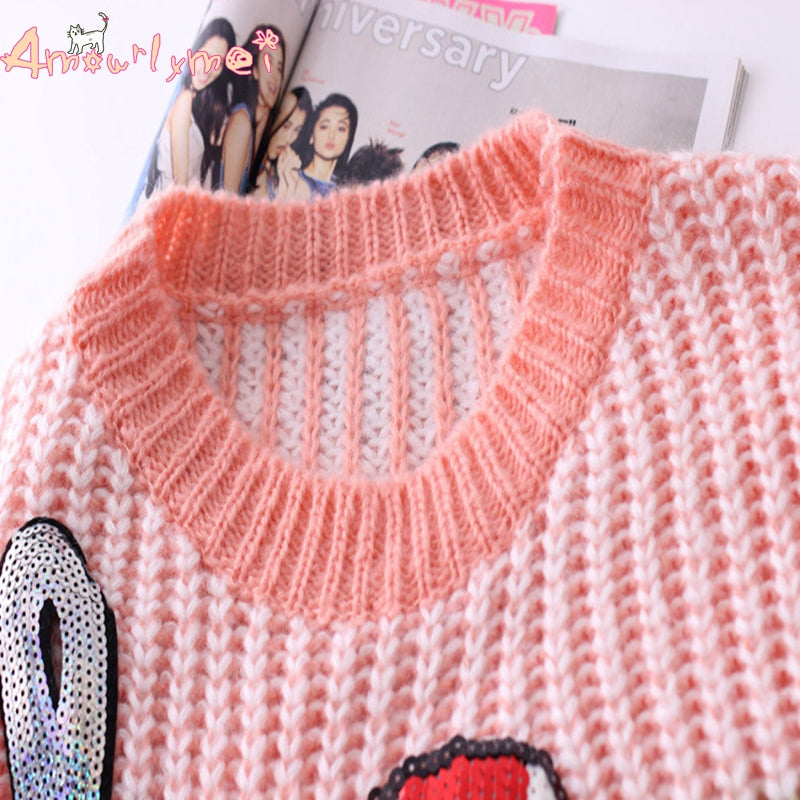 b2422e9ddc5c Ice Cream Cable Knit Sweater Dress Long Sleeve Yum