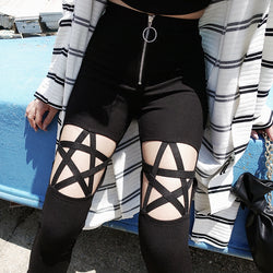 gothic pentagram witch pagan pants high waisted hollow cut out leggings goth fashion witchcraft by kawaii babe