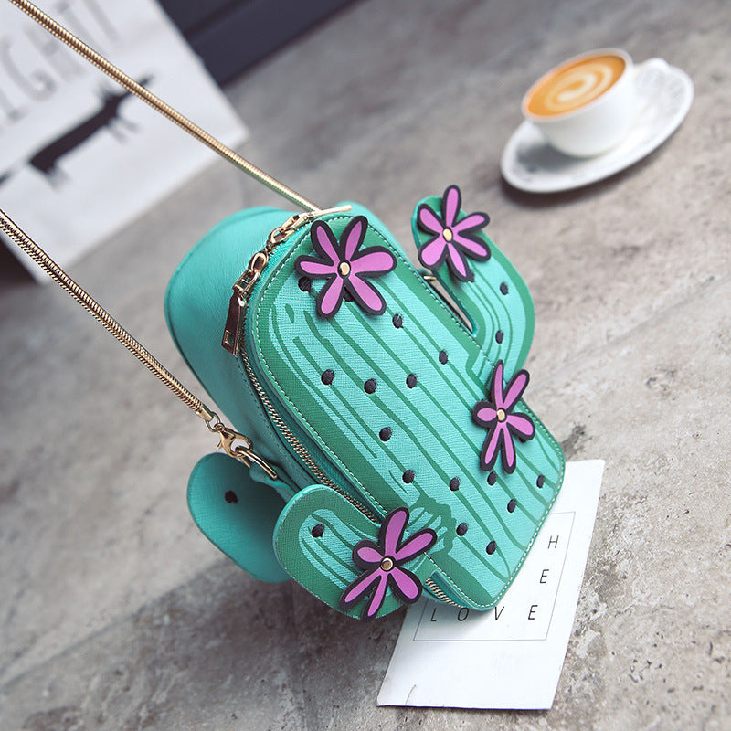 3d Cactus purse handbag shoulder bag gold chain pink flowers desert heat long adjustable strap harajuku japan fashion by kawaii babe