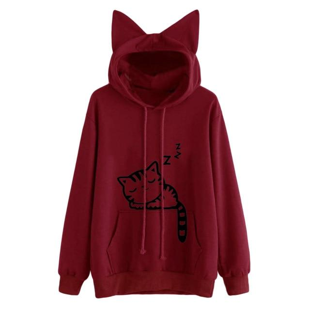 Red Sleepy Kitten Sleeping Cat Sweater Hoodie Cat Ears Sweatshirt