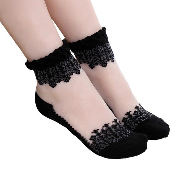 see-through invisible ankle socks clear fabric black lace dainty elegant lolita mori girl larme harajuku japan fashion by kawaii babe
