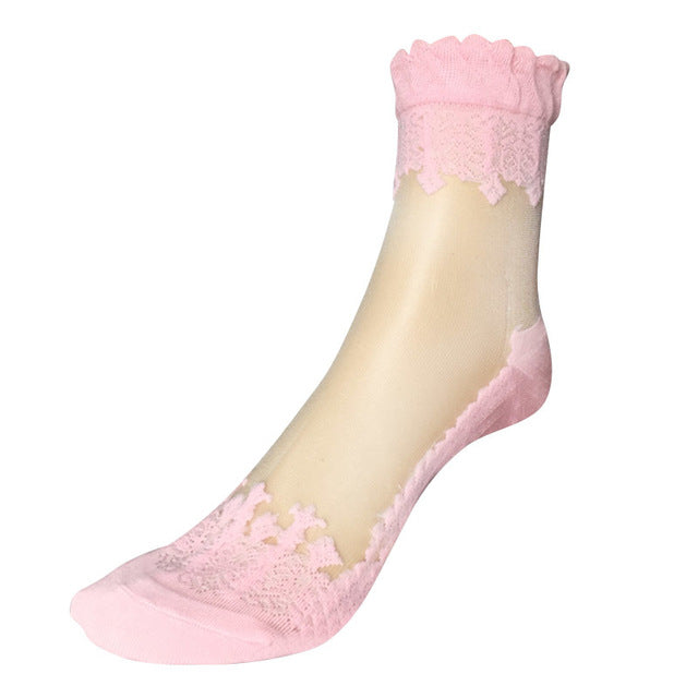 see-through invisible ankle socks clear fabric pink lace dainty elegant lolita mori girl larme harajuku japan fashion by kawaii babe