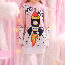 pink rocket ship boom boom sweater dress Spaceship shuttle intergalactic long sleeve warm winter wear cozy harajuku japan kawaii fashion by kawaii babe