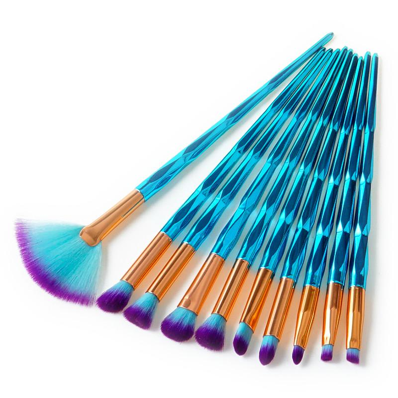 blue diamond unicorn makeup brush set blush brush eyeshadow make up set magical mermaid shiny metal