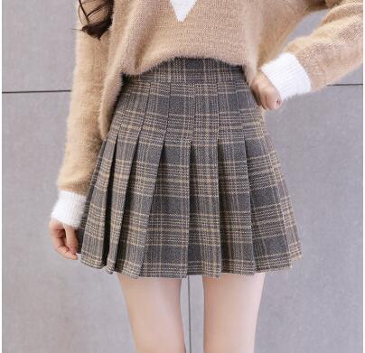 preppy school girl skirt plaid Pleated grey beige prep girly classic business casual harajuku fashion japan by kawaii babe