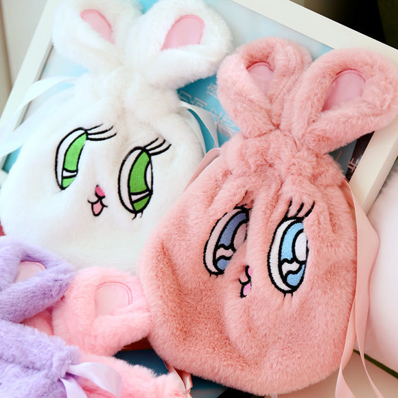 Fluffy Bunny Rabbit Fur Drawstring Bag