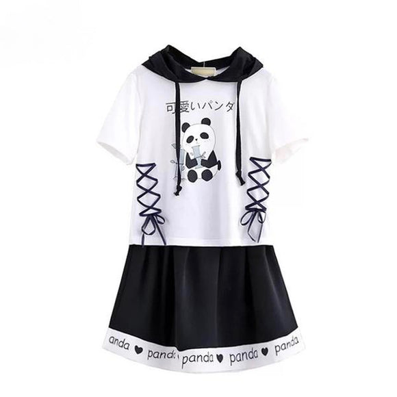 panda bear outfit sailor collar t-shirt top tee corset lace up skirt set drawstrings kawaii fashion japanese japan bear
