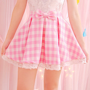 pink plaid fairy kei skirt pastel gingham pleated school girl young youthful bow knot harajuku fashion by kawaii babe