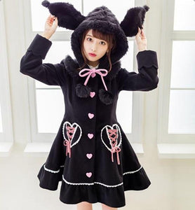 White Pink My Melody Bunny Rabbit Dress Coat Sweet Lolita Kawaii Fashion Vegan Fur
