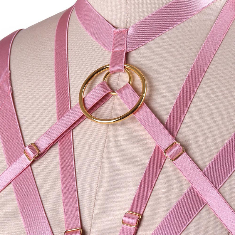 Pink Satin Bondage Harness Chest S&M BDSM Kink Fetish Luxury O Ring