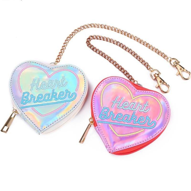 Holographic Heart Breaker Coin Bag Pouch Purse Harajuku Japan Street Fashion