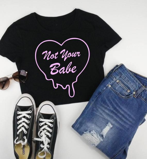 Not Your Babe Cropped Top Belly Shirt Neon Cursive Pink Writing Quirky Sassy Black