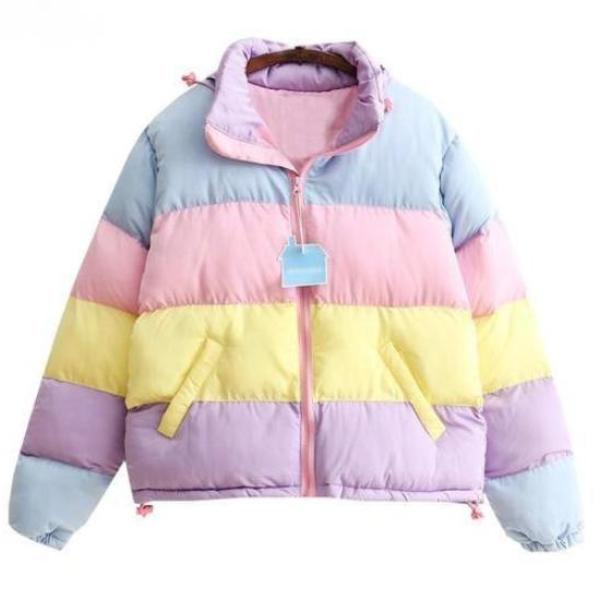 candy colored fairy kei bomber jacket winter coat puffy poofy pastel kei harajuku japan hooded hoodie cold weather by kawaii babe