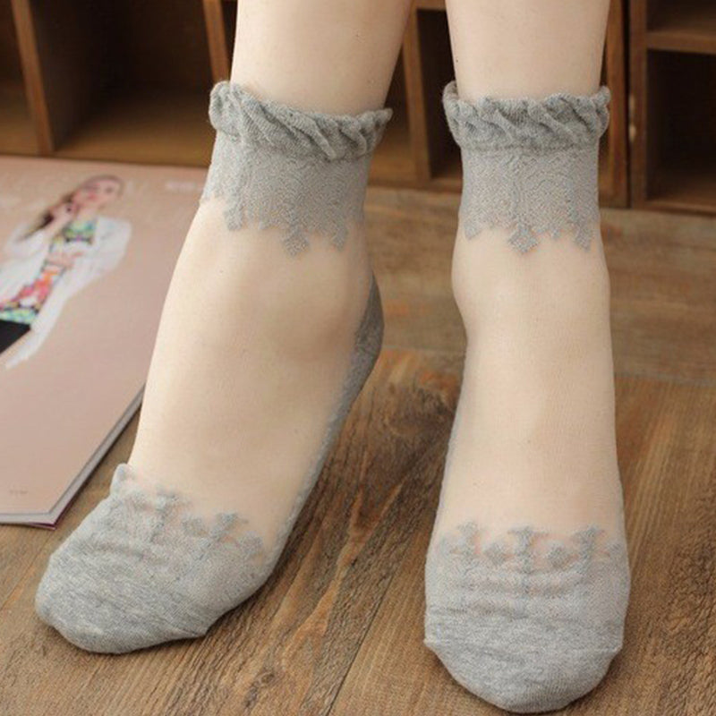 see-through invisible ankle socks clear fabric grey lace dainty elegant lolita mori girl larme harajuku japan fashion by kawaii babe