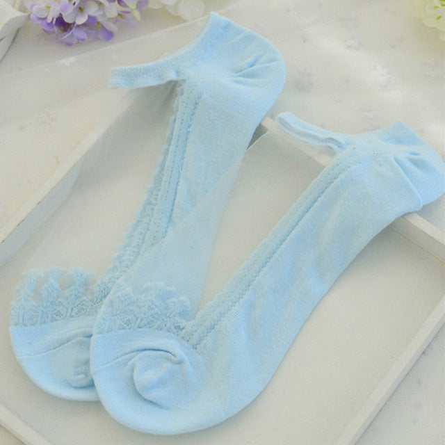 see-through invisible ankle socks clear fabric blue lace dainty elegant lolita mori girl larme harajuku japan fashion by kawaii babe