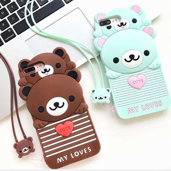 3d teddy bear papa bear iphone case rilakkuma soft rubber tpu phone cases harajuku japan kawaii fashion by kawaii babe