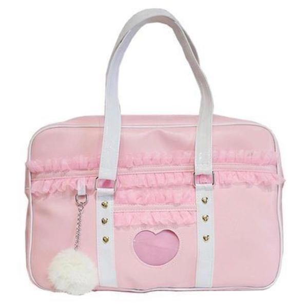 Ruffled Pink Duffle Bag