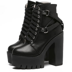 Belted Combat Boots Motorcycle Chunky