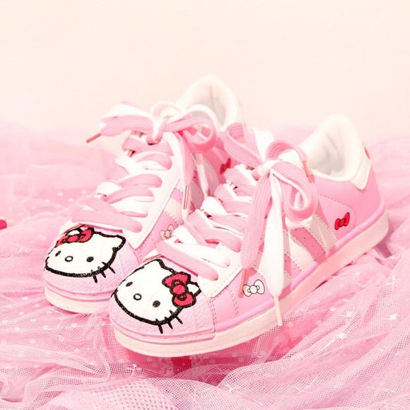pink hello kitty athletic shoes trainers sanrio white striped laces little space fashion cgl abdl age regression by ddlg playground
