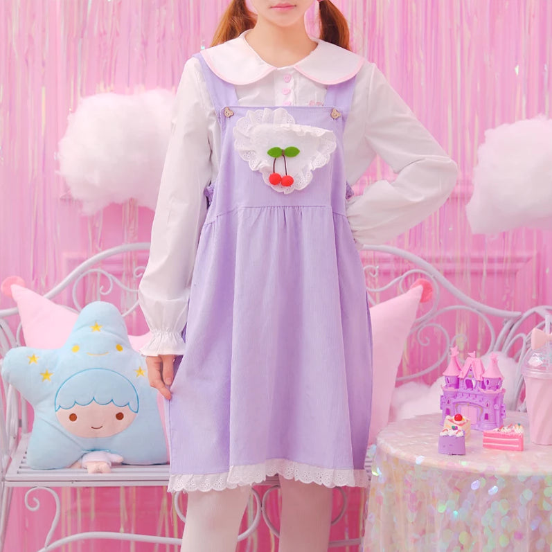 Pastel Cherry Jumper Strap Dress DDLG CGL Youthful | Kawaii Babe