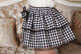 checkerboard plaid ruffled skirt layered rhinestone lolita bow frills elastic waist in plus sizes by kawaii babe