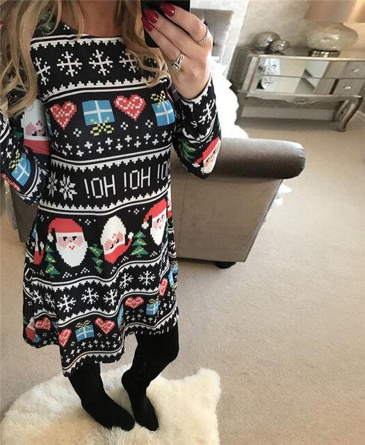 Christmas Long Sleeve Dress Holiday Xmas Sweater Dress Holiday Festive Santa Clause Reindeer