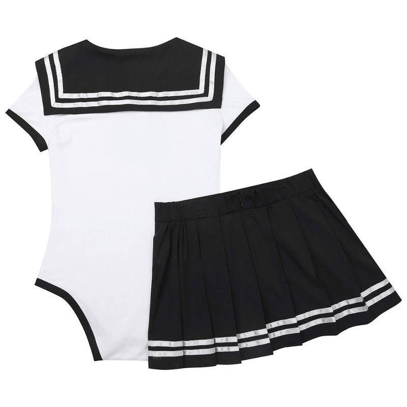 school girl sailor scout adult onesie two piece 2pc set outfit romper jumper bodysuit sailor scout sailor moon cosplay costume snap crotch cgl abdl ddlg by kawaii babe