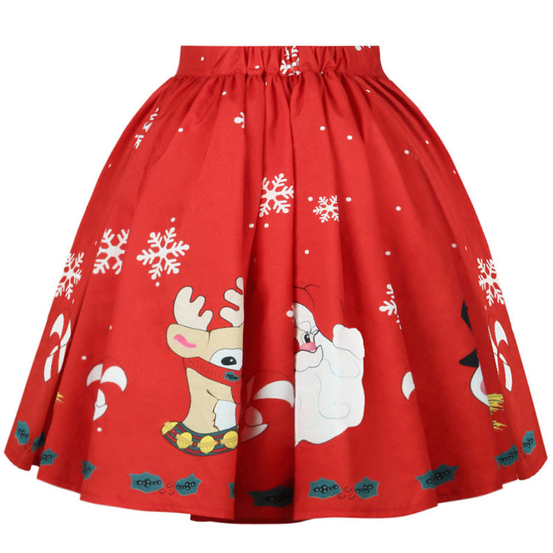 Santa Clause Reindeer Snowflake Pleated Skirt Xmas Christmas Holiday Festive Theme