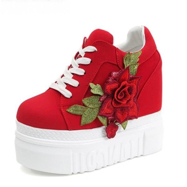 Red Rose Embroidered Flower Wedge