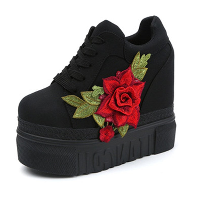 red rose wedge sneakers lace up shoes 3d embroidery laces trainers harajuku japan fashion aesthetic by kawaii babe
