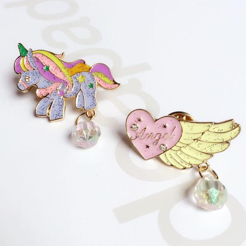 rainbow unicorn magical girl mahou shoujo enamel pin lapel brooch glitter jewel gem rhinestone kawaii harajuku japan fashion by kawaii babe
