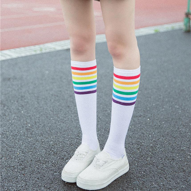 white rainbow stripe knee socks sweat socks gay pride parade harajuku japan fashion by kawaii babe