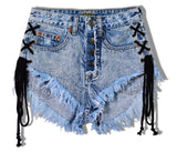 jean denim lace up shorts corset style high waisted acid wash punk rock edgy sexy distressed jeans by kawaii babe