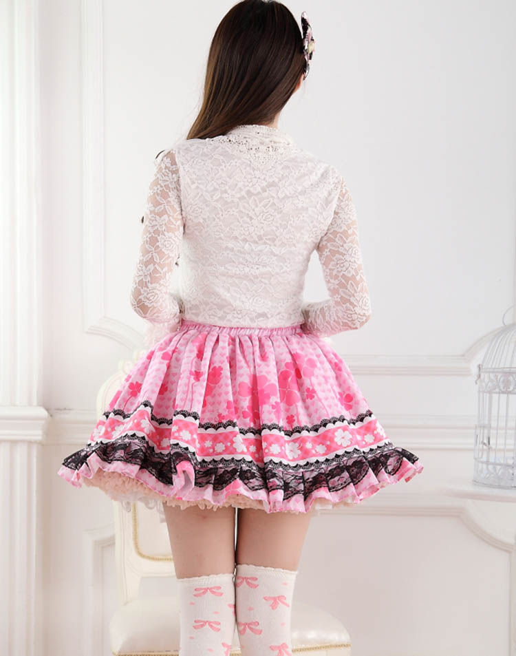 pink sakura cherry blossom sweet lolita skirt pink princess floral flowers ruffled layered petticoat kawaii harajuku japan fashion by kawaii babe