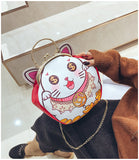 3d lucky money cat handbag purse shoulder bag gold chain chinese japanese kitten cat face dollar signs white kitty china japan inspired fashion by kawaii babe