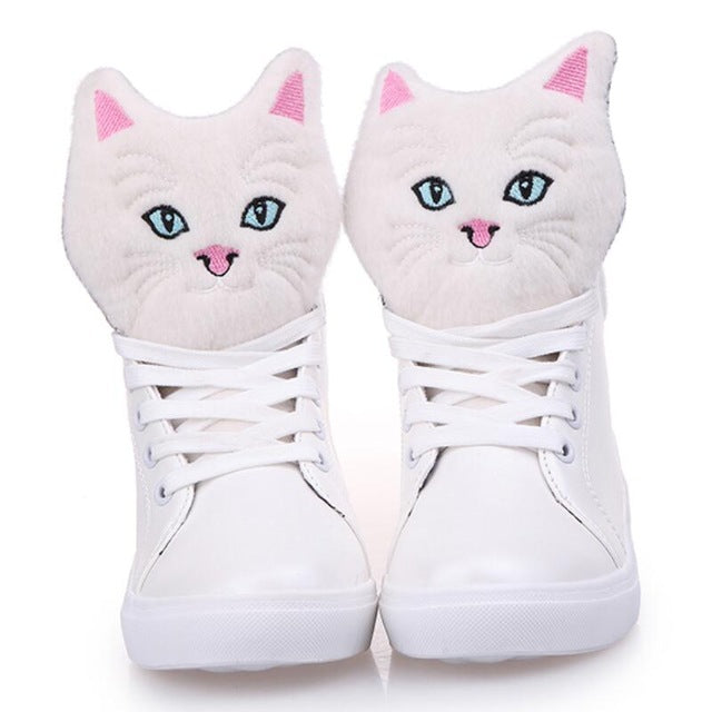 fuzzy furry cat hi top sneakers shoes flat heel lace up soft kawaii kitten Kawaii Babe