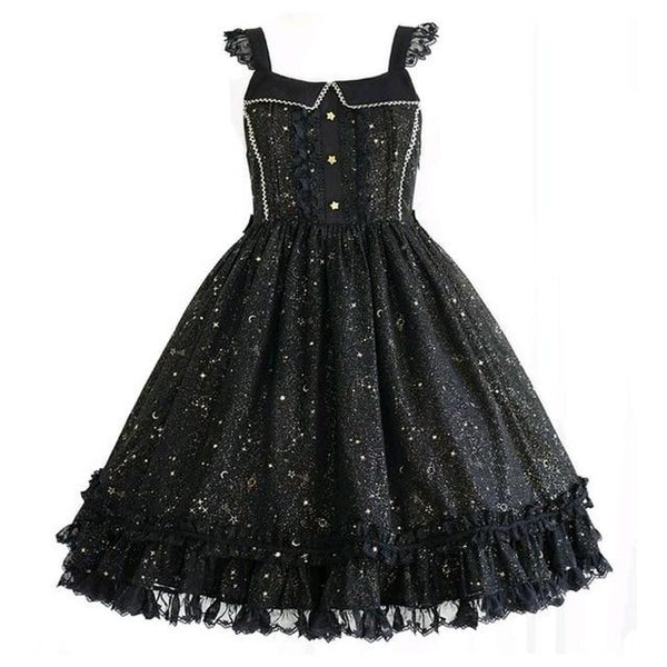 Black Gothic Lolita Star Constellation Dress JSK