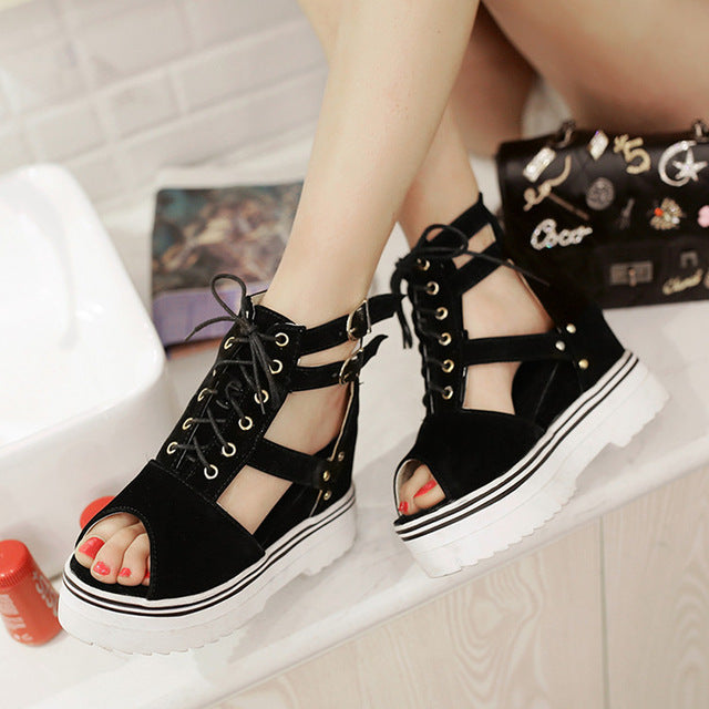 strappy wedge  sandals shoes buckled ankle straps laces summer wedge wedgies platform by kawaii babe