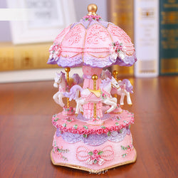fairy kei musical carousel merry go round fairy pony unicorn pastel aesthetic resin ceramic music box led light up flashing lights by kawaii babe