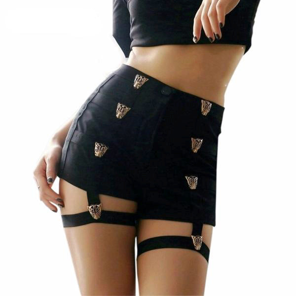 black goth punk rock shorts with garter belts built in brass tiger buckles sexy fetish high waisted jean shorts punk fashion by kawaii babe