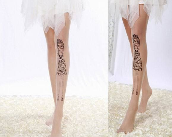 tattoo pantyhose nylon tights lolita style harajuku japan fashion by kawaii babe